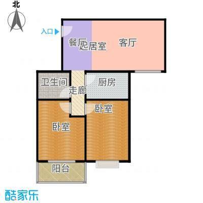 慧竹丽景76.89㎡两室一厅一卫户型
