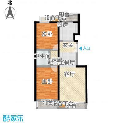 嘉业大厦二期106.75㎡4单元D1户型二室二厅一卫户型