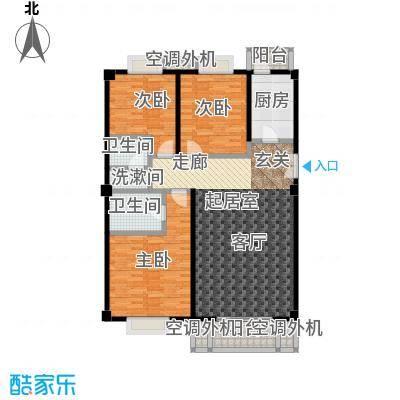 安德馨居127.16㎡三室一厅两卫户型
