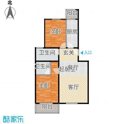 鸿顺园东区89.00㎡B2/B2反户型2室2卫1厨