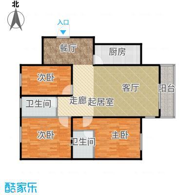 鸿顺园东区123.00㎡E户型3室2卫1厨