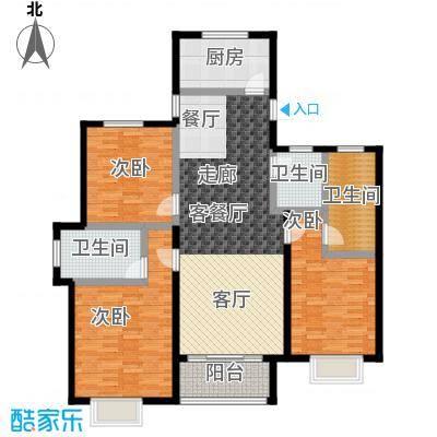 汇豪山水华府127.75㎡11号楼E1户型3室1厅3卫1厨