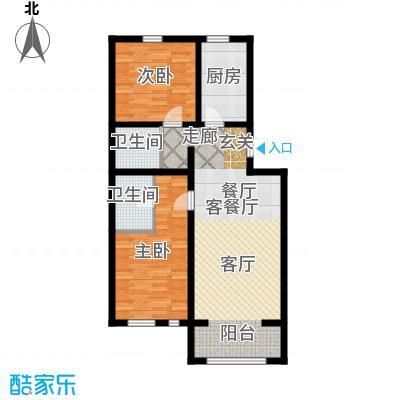 华风龙腾郡1、3号楼二、三单元二室户型2室1厅2卫1厨