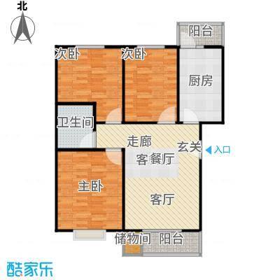 依澜晓镇106.18㎡C1户型三室二厅一卫户型