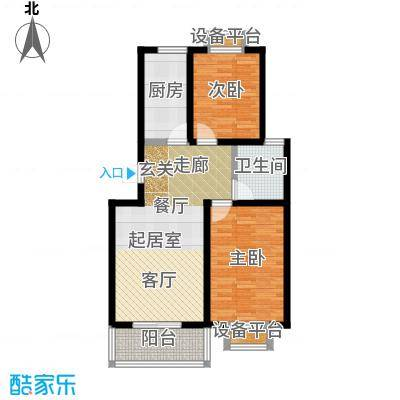 城铁边上的家82.00㎡二室二厅一卫户型