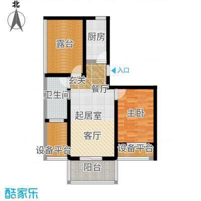 城铁边上的家63.80㎡一室二厅一卫户型