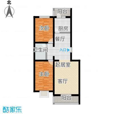 城铁边上的家91.14㎡二室二厅一卫户型