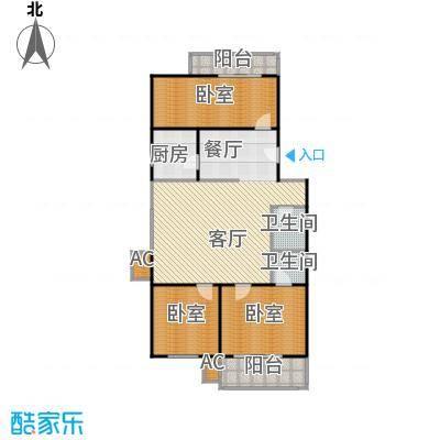 沁馥家园127.99㎡三室两厅两卫户型