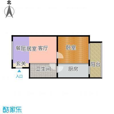鑫融皓月家园3号楼E户型一室一厅一卫户型
