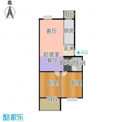 鑫融皓月家园1号楼B两室两厅一卫户型