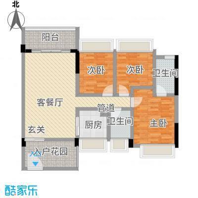 大翼龙苑104.00㎡5栋1/2单元01、3房 三房二厅二卫 104平米户型3室2厅2卫