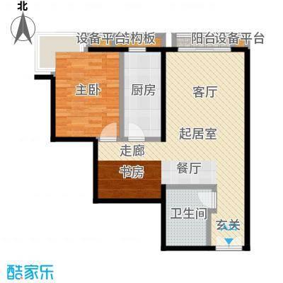 风景Club81.99㎡15号楼G-1户型一室二厅一厨一卫户型