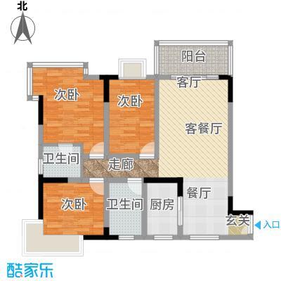 国窖明城(二期)94.09㎡房型: 三房; 面积段: 94.09 -103.37 平方米;户型