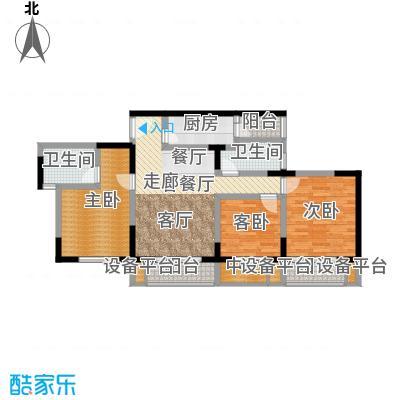 渝洲新城(二期)94.23㎡房型: 三房; 面积段: 94.23 -101.34 平方米;户型