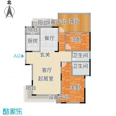 亿城天筑115.00㎡F5户型二室二厅二卫户型