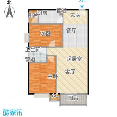 中景理想家C3两室两厅一卫,建面91.36,套内74.64户型