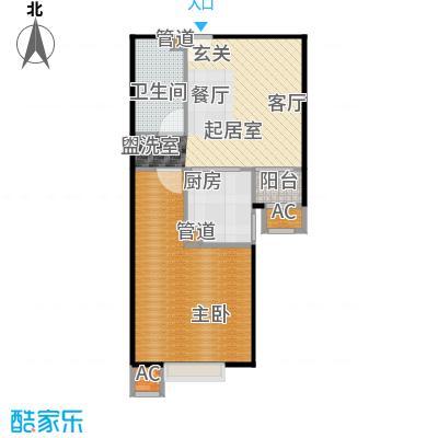 中景理想家C2一室两厅一卫,建面52.43,套内42.83户型