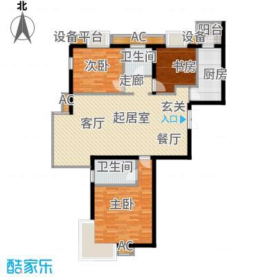万润风景122.74㎡5号楼D3户型三室二厅二卫户型