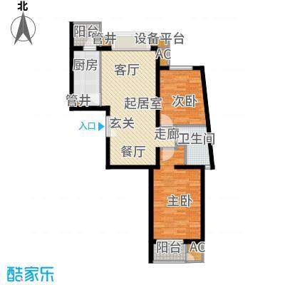 万润风景85.90㎡4号楼D21户型二室二厅一卫户型