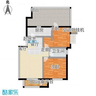 远洋自然102.91㎡7号楼TB1反户型二室二厅一卫户型