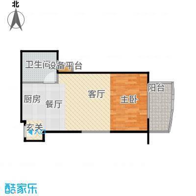 远中悦麒会馆62.85㎡B户型一居室户型