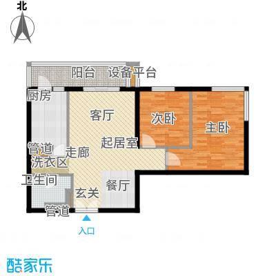 东丽温泉家园83.00㎡二居室户型