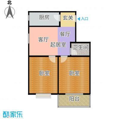 慧竹丽景70.12㎡两室一厅一卫户型