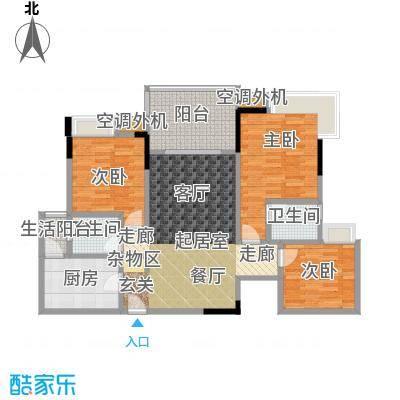 渝能幸福山房93.18㎡三室两厅双卫 月93.18平米户型3室2厅2卫