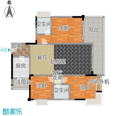 渝能幸福山房119.58㎡三室两厅双卫 约119.58平方米户型