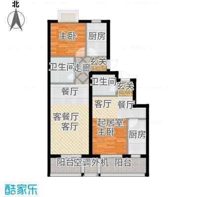 古韵新居1、2号楼A3一居室、A2户型1室1厅2卫2厨