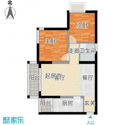 万达广场64.10㎡A、B栋奇数层1、8号房户型2室1卫1厨