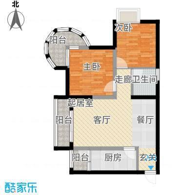 万达广场68.03㎡A、B栋偶数层1、8号房户型2室1卫1厨