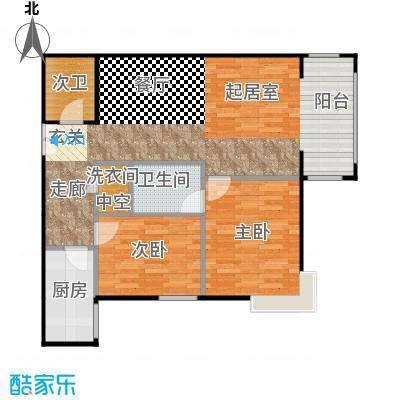 方庄6号E反户型二室二厅二卫户型