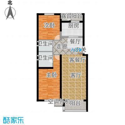 天鸿美域128.00㎡二室二厅二卫D2户型(二期)户型