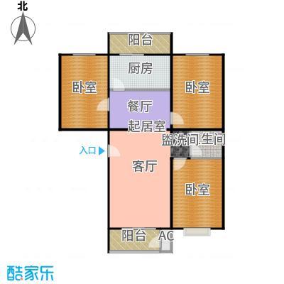佑民雅居112.23㎡A1户型三室二厅一卫户型
