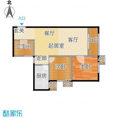 圣淘沙89.29㎡5号楼J户型二室二厅一卫户型