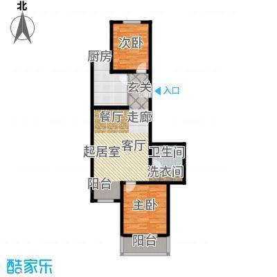 绿茵小区89.60㎡二室一厅一卫户型