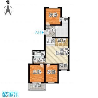 绿茵小区108.79㎡三室一厅一卫户型