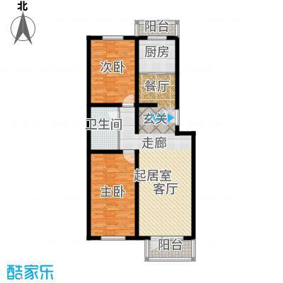 绿茵小区95.10㎡二室二厅一卫户型