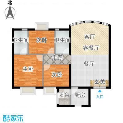 运河明珠家园114.00㎡1号7号楼B户型3室2厅2卫户型