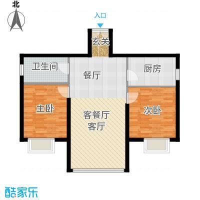 运河明珠家园78.30㎡10号11号楼D户型2室2厅1卫户型