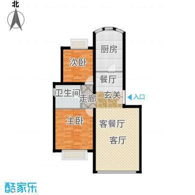 运河明珠家园96.85㎡4号楼B户型2室2厅1卫户型