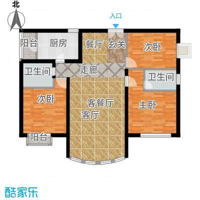 运河明珠家园110.00㎡6号楼C户型3室2厅2卫户型