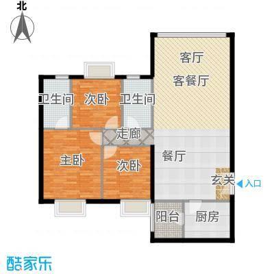 运河明珠家园118.71㎡5号楼E户型3室2厅3卫户型