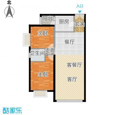运河明珠家园97.36㎡5号楼F户型2室2厅1卫户型