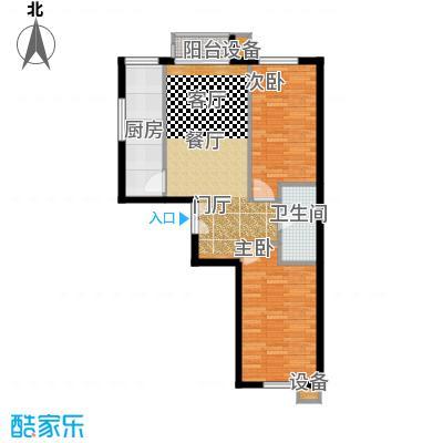 葵花社86.45㎡E户型二室二厅一卫户型