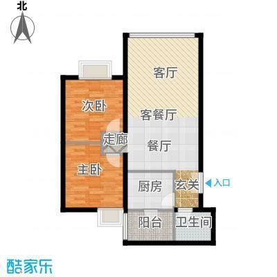 运河明珠家园75.69㎡10号11号楼C户型2室2厅1卫户型
