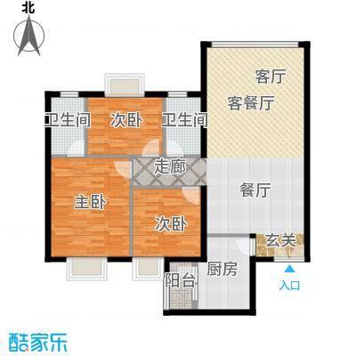 运河明珠家园108.00㎡6号楼A户型3室2厅2卫户型