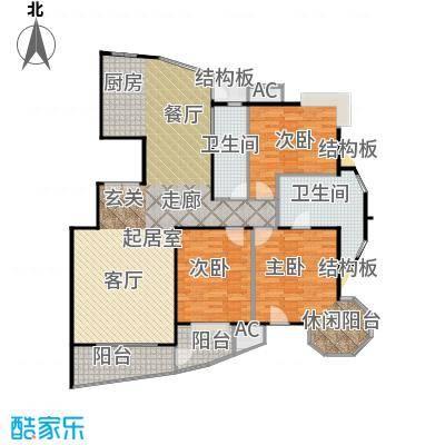 瑞都公园世家165.83㎡AA户型三室两厅户型