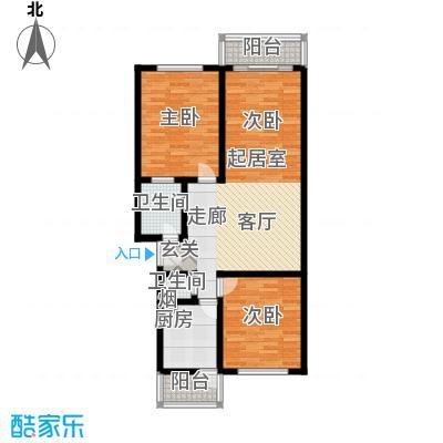 东港生活城93.84㎡两室两厅两卫户型